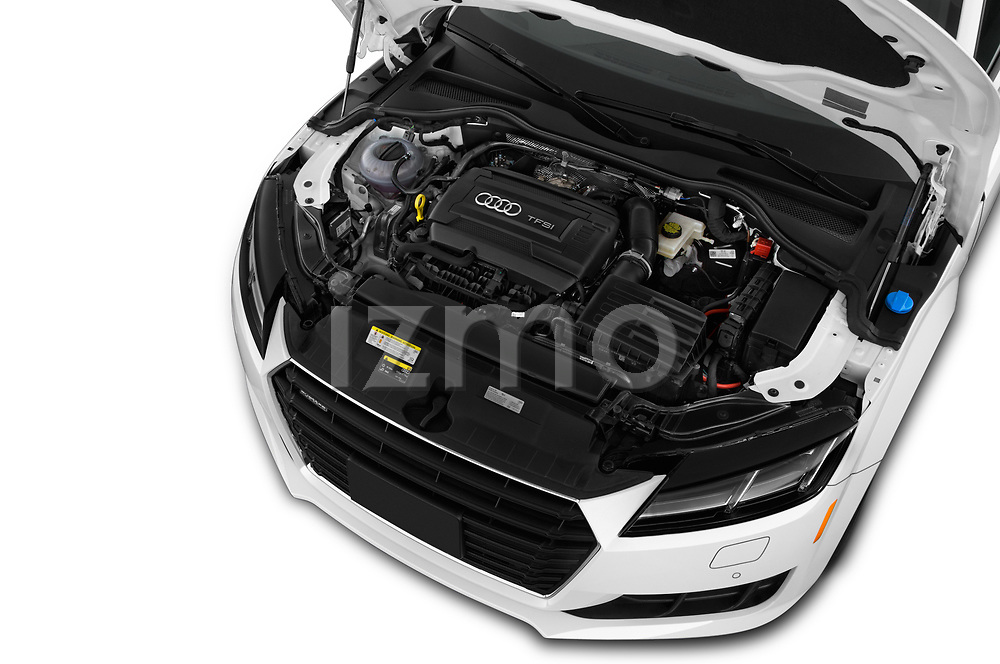 Car stock 2018 Audi TT-Coupe  2.0T-quattro-S-tronic 2 Door Coupe engine high angle detail view