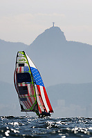 RIO DE JANEIRO, BRAZIL - AUGUST 15:  Thomas Barrows of the United States and Joe Morris of the United States compete in the Men's 49er class on Day 10 of the Rio 2016 Olympic Games at the Marina da Gloria on August 15, 2016 in Rio de Janeiro, Brazil.  (Photo by Clive Mason/Getty Images)