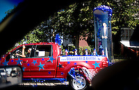 A truck holding a figure of Barack Obama drives down a street in Denver, Colorado during the Democratic National Convention, Wednesday, August 27, 2008. The convention has made its impact on Denver citizens who normally don't see such political hysteria on a normal basis. ..PHOTOS/  MATT NAGER