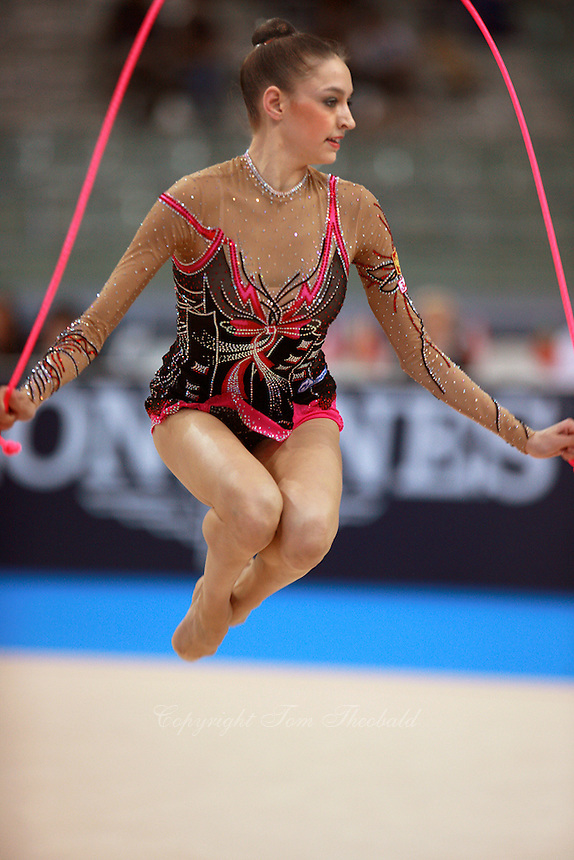 Evgenia Kanaeva of Russia jumps with rope on way to winning All-Around gold at 2008 European Championships at Torino, Italy on June 6, 2008.  Photo by Tom Theobald.