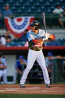 Florida Fire Frogs left fielder Jared James (19) at bat during a game against the St. Lucie Mets on April 19, 2018 at Osceola County Stadium in Kissimmee, Florida.  St. Lucie defeated Florida 3-2.  (Mike Janes/Four Seam Images)