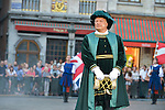 Eric Emmanuel Schmitt herald for the Brussels Ommegang pageant representing the arrival of Charles V in Brussels. Each year the pageant brings together over 1,200 extras in period outfits on the Grand Place in Brussels. Eric Emmanuel Smith participated in this event as a herald and commentator. Brussels, 30 June 2015, Belgium
