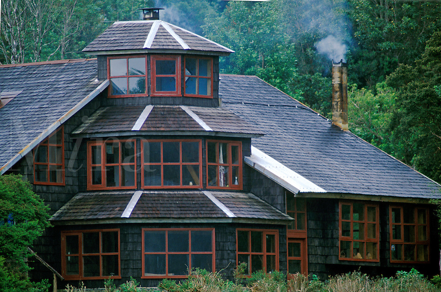 WOODEN HOME at ANIHUE BAY in the TEMPERATE RAIN FOREST in NORTHERN PATAGONIA west of LA JUNTA - CHILE