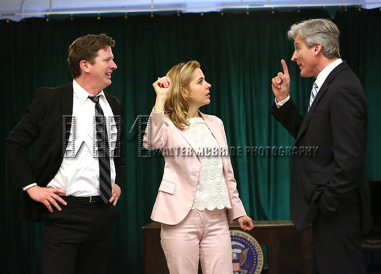 Duke Lafoon, Kerry Butler and Tom Galantich during the 'Clinton The Musical' - Sneak Peek at Ripley Grier Studios on March 4, 2015 in New York City.