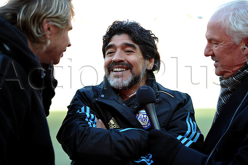 17 06 2010   Johannesburg  Diego Maradona  Head Coach of Argentina is interviewed Prior to A 2010 World Cup Group B Match between Argentina and South Korea AT The Soccer City stadium in Soweto Suburban Johannesburg South Africa . The game ended with Argentina winning 4-1.