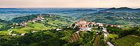 Smartno in the foreground and Kozana in the background surrounded by vineyards, Goriska Brda (Gorizia Hills), in Brda, the wine region of Slovenia, Europe