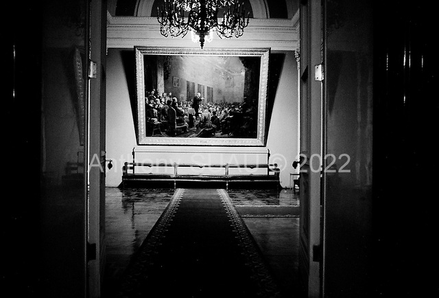 "Moscow, Russia<br /> Soviet Union<br /> August 6, 1991<br /> <br /> A view from inside the Kremlin moments before Mikhail Gorbachev and Boris Yelstin conduct a private interview with US ABC television.<br /> <br /> In December 1991, food shortages in central Russia had prompted food rationing in the Moscow area for the first time since World War II. Amid steady collapse, Soviet President Gorbachev and his government continued to oppose rapid market reforms like Yavlinsky's ""500 Days"" program. To break Gorbachev's opposition, Yeltsin decided to disband the USSR in accordance with the Treaty of the Union of 1922 and thereby remove Gorbachev and the Soviet government from power. The step was also enthusiastically supported by the governments of Ukraine and Belarus, which were parties of the Treaty of 1922 along with Russia.<br /> <br /> On December 21, 1991, representatives of all member republics except Georgia signed the Alma-Ata Protocol, in which they confirmed the dissolution of the Union. That same day, all former-Soviet republics agreed to join the CIS, with the exception of the three Baltic States."