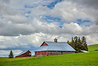 Latah County, Palouse Region, Idaho: Weathered red western style barn