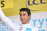 Egan Bernal (COL) Team Ineos retains the young riders White Jersey at the end of Stage 16 of the 2019 Tour de France running 177km from Nimes to Nimes, France. 23rd July 2019.<br /> Picture: Colin Flockton | Cyclefile<br /> All photos usage must carry mandatory copyright credit (© Cyclefile | Colin Flockton)