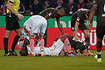 08.02.2019, RheinEnergieStadion, Koeln, GER, 2. FBL, 1.FC Koeln vs. FC St. Pauli,<br />  <br /> DFL regulations prohibit any use of photographs as image sequences and/or quasi-video<br /> <br /> im Bild / picture shows: <br /> Jhon Córdoba (FC Koeln #15),  Florian Carstens (St Pauli #38),  verletzt am Boden <br /> <br /> Foto © nordphoto / Meuter