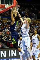 GRONINGEN - Basketbal, Donar - ZZ Leiden, Martiniplza, Halve finale NBB beker, seizoen 2018-2019, 13-02-2019, score Leiden speler Mohamed Kherrazi  tegen Donar speler Rienk Mast