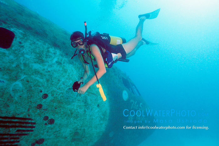 scuba diver explores Boeing 727-100 wreck, .sunk as an artificial reef in 1993, .Miami, Florida (Atlantic)..