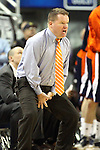 Bucknell Head Coach Dave Paulsen signals his team during a second round NIT college basketball game against Nevada, in Reno, Nev., on Sunday, March 18, 2012. Nevada won 75-67..Photo by Cathleen Allison