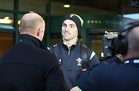Tuesday 11 November 2014<br /> Pictured: George North<br /> Re: Wales national rugby union player George North (R) talks to the media outside the Vale Resort Hotel in Hensol, Mid Glamorgan, Wales, United Kingdom on November 11, 2014, ahead of a rugby match against the Fiji national rugby team on November 15 at the Millennium Stadium.