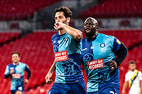 Wycombe Wanderers' Joe Jacobson (left) celebrates scoring his side's second goal from the penalty spot <br /> <br /> Photographer Andrew Kearns/CameraSport<br /> <br /> Sky Bet League One Play Off Final - Oxford United v Wycombe Wanderers - Monday July 13th 2020 - Wembley Stadium - London<br /> <br /> World Copyright © 2020 CameraSport. All rights reserved. 43 Linden Ave. Countesthorpe. Leicester. England. LE8 5PG - Tel: +44 (0) 116 277 4147 - admin@camerasport.com - www.camerasport.com