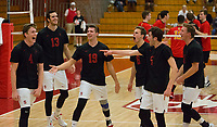STANFORD, CA - January 2, 2018: Eric Beatty, Kevin Rakestraw, Jacob Thoenen, Russell Dervay, JP Reilly, Eli Wopat at Burnham Pavilion. The Stanford Cardinal defeated the Calgary Dinos 3-1.