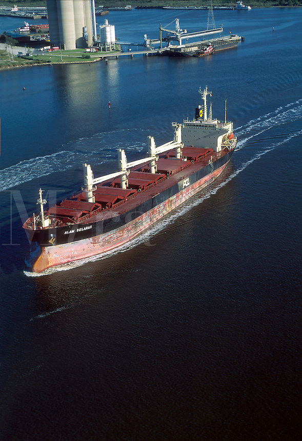 Aerial view of a cargo ship.
