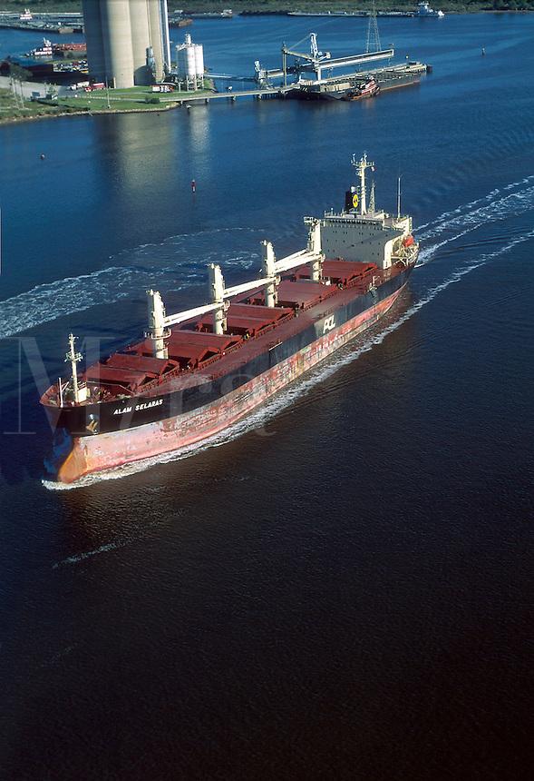 Aerial view of a cargo ship.