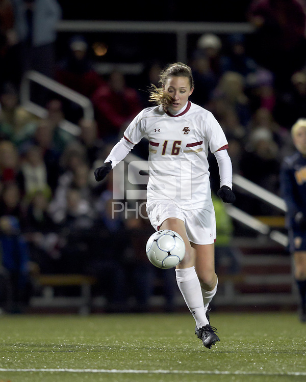 "Boston College forward Brooke Knowlton (16) traps the ball. Boston College defeated West Virginia, 4-0, in NCAA tournament ""Sweet 16"" match at Newton Soccer Field, Newton, MA."