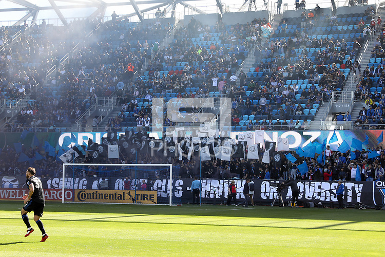 SAN JOSE, CA - FEBRUARY 29: San Jose Earthquakes supporters section during a game between Toronto FC and San Jose Earthquakes at Earthquakes Stadium on February 29, 2020 in San Jose, California.