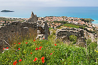 ITA, Italy, Calabria, Cirella: view from Cirella Vécchia (castle ruin) at beach resort Cirella and island Isola di Cirella