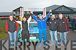 The winners of the 2012 TOP PART West Coast Rally Championship celebrating outside Banna Beach Resort last Sunday evening were l-r: Jakes Kelly, Clerk of the Course, Frank Kelly, Liam Brennan with KMC officials Richard Talbot and Seamus O'Connor.