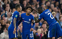 Antonio Rudiger of Chelsea congratulates Willian of Chelsea on his goal during the Carabao Cup round of 16 match between Chelsea and Everton at Stamford Bridge, London, England on 25 October 2017. Photo by Andy Rowland.
