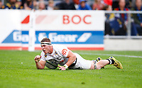 James Venter of the Cell C Sharks going over for a try during the Super Rugby match between the Pulse Energy Highlanders and the Cell C Sharks at the Forsyth Barr Stadium in Dunedin, New Zealand on Friday, 7 February 2020. Photo Steve Haag / stevehaagsports.com