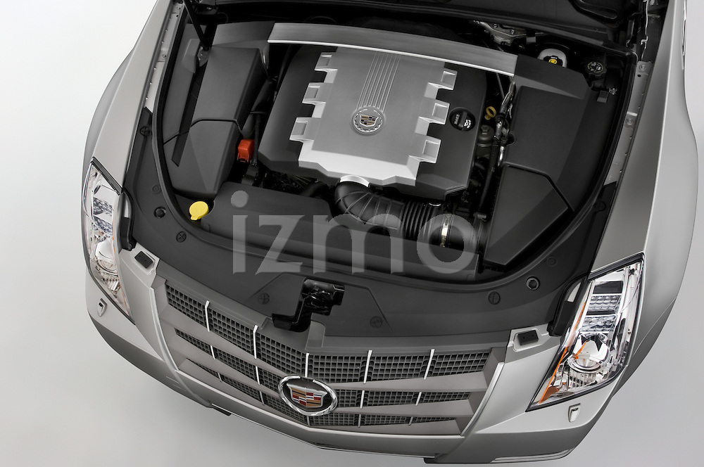 High angle engine view of a 2008 Cadillac CTS sedan