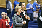 17 November 2013: Alabama head coach Kristy Curry (left) with husband and assistant coach Kelly Curry (right). The Duke University Blue Devils played the University of Alabama Crimson Tide at Cameron Indoor Stadium in Durham, North Carolina in a 2013-14 NCAA Division I Women's Basketball game. Duke won the game 92-57.