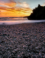 Sunrise on Black Sand Beach. Wai'anapanapa State Park, Maui, Hawaii