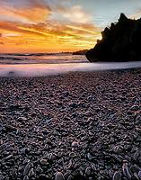 Sunrise on Black Sand Beach. Wai'anapanapa State Park, Maui, Hawaii