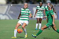 8 November 2015:  North Texas Defender Hailey Hadden (13) passes the ball in the first half as the University of North Texas Mean Green defeated the Marshall University Thundering Herd, 1-0, in the Conference USA championship game at University Park Stadium in Miami, Florida.