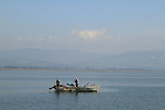 Israel, Sea of Galilee, a fishing boat by the coast of Capernaum