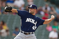 New Orleans Zephyrs pitcher Duane Below (45) delivers a pitch to the plate during the Pacific Coast League baseball game against the Round Rock Express on June 30, 2013 at the Dell Diamond in Round Rock, Texas. Round Rock defeated New Orleans 5-1. (Andrew Woolley/Four Seam Images)