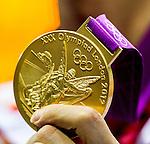 Engeland, London, 28 juli 2012.Olympische Spelen London.Gouden Olympische medaille van London