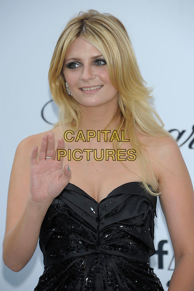 MISCHA BARTON.amfAR's Cinema Against AIDS Gala during the 64th Annual Cannes Film Festival at Hotel Du Cap, Antibes, France. .May 19th, 2011.half length dress palm waving hand  black strapless blue.CAP/PL.©Phil Loftus/Capital Pictures.