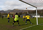 Keswick 1 Kendal 1, 15/04/2017. Fitz Park, Westmoreland League. Kendal defend a corner. Photo by Paul Thompson.