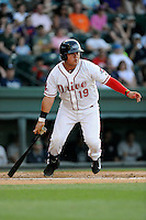 First baseman Francisco Tellez (48) of the Greenville Drive bats in a game against the Charleston RiverDogs on Sunday, May 24, 2015, at Fluor Field at the West End in Greenville, South Carolina. Charleston won 3-2. (Tom Priddy/Four Seam Images)