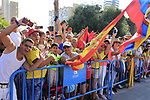 Colombian fans go crazy as Nairo Quintana (COL) Movistar Team wins Stage 2 of La Vuelta 2019 running 199.6km from Benidorm to Calpe, Spain. 25th August 2019.<br /> Picture: Eoin Clarke | Cyclefile<br /> <br /> All photos usage must carry mandatory copyright credit (© Cyclefile | Eoin Clarke)