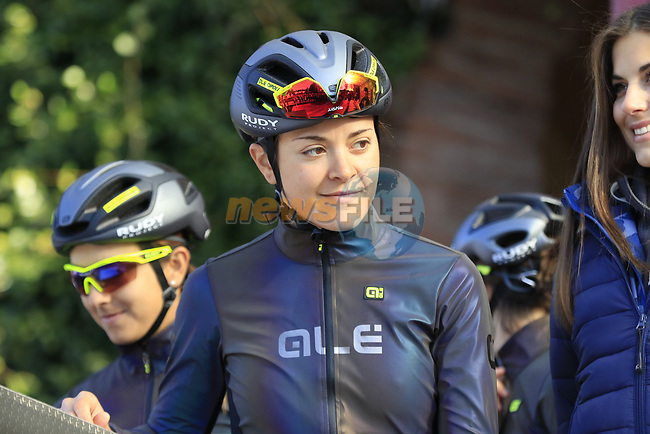 Ale Cipollini at sign on before the Strade Bianche Women Elite 2019 running 133km from Siena to Siena, held over the white gravel roads of Tuscany, Italy. 9th March 2019.<br /> Picture: Eoin Clarke | Cyclefile<br /> <br /> <br /> All photos usage must carry mandatory copyright credit (© Cyclefile | Eoin Clarke)