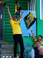 Fans in the grandstand during the Super Rugby match between the Hurricanes and Brumbies at CET Arena in Palmerston North, New Zealand on Friday, 1 March 2019. Photo: Dave Lintott / lintottphoto.co.nz