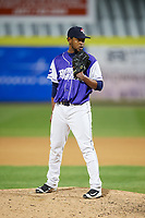 Binghamton Rumble Ponies relief pitcher Scarlyn Reyes (45) looks in for the sign during a game against the Akron RubberDucks on May 12, 2017 at NYSEG Stadium in Binghamton, New York.  Akron defeated Binghamton 5-1.  (Mike Janes/Four Seam Images)