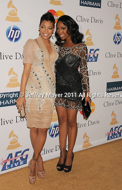 BEVERLY HILLS, CA - FEBRUARY 12: Monica and Brandy arrive at the 2011 Pre-GRAMMY Gala and Salute To Industry Icons Honoring David Geffen at The Beverly Hilton Hotel on February 12, 2011 in Beverly Hills, California.