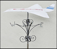 BNPS.co.uk (01202 558833)<br /> Pic DominicWinter/BNPS<br /> <br /> A Concorde weather vane that Trubshaw put on his house. <br /> <br /> The space age helmet worn by Concorde test pilot Brian Trubshaw on the first ever UK flight has been reunited with the historic Concorde 002 at the Fleet Air Arm Museum in Somerset.<br /> <br /> The 50th anniversary of the flight on 9th April 1969 takes place tomorrow (Tuesday) when the Concorde prototype took off from Filton near Bristol with Trubshaw at the controls.<br /> <br /> The historic helmet was fitted with an oxygen supply in case of an depressurisation of the supersonic aircraft during testing and has been loaned to the museum by a collector.