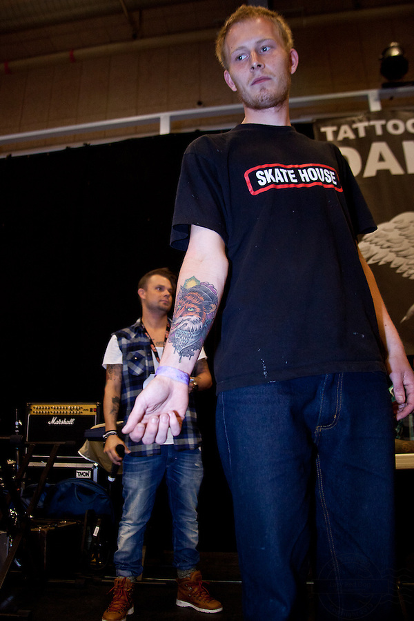 Tattoo Convention in Kolding 2011. Arranged by BodyMod.dk<br /> Old style wolf tattooed on arm.
