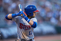 Bo Bichette (13) of the Buffalo Bisons at bat against the Charlotte Knights at BB&T BallPark on July 24, 2019 in Charlotte, North Carolina. The Bisons defeated the Knights 8-4. (Brian Westerholt/Four Seam Images)