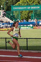 North Dakota native and University of Oregon senior Laura Roesler runs a leg of the UO  4x400-meter relay during the preliminaries Thursday, June 12, at the 2014 NCAA Division I Outdoor Track and Field Championships, in Eugene, Or.