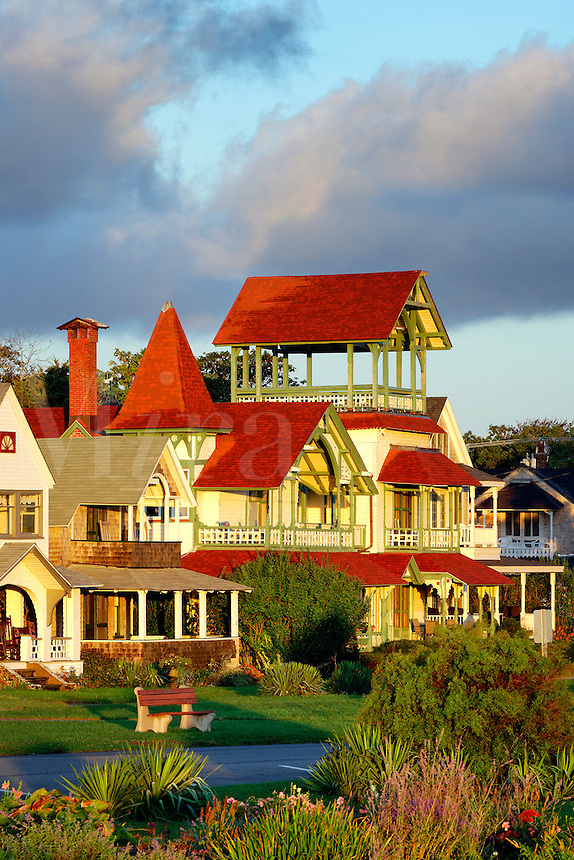 Houses, Oak Bluffs, Martha's Vineyard, Massachusetts, USA