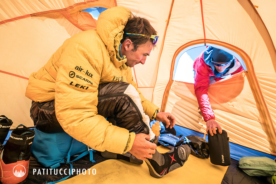 Ueli Steck inside his advance basecamp tent during a climbing expedition to the 8000 meter peak Shishapangma, Tibet